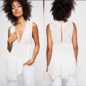Free People Embroidered Diamond Tank Top S